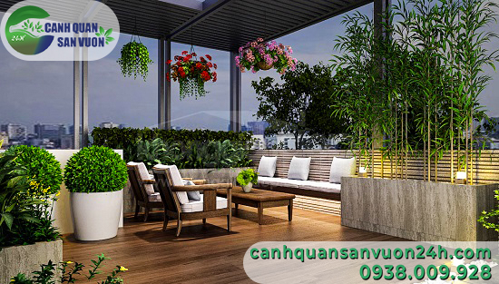 thiết kế sân vườn trên sân thượng từ vật tái chế