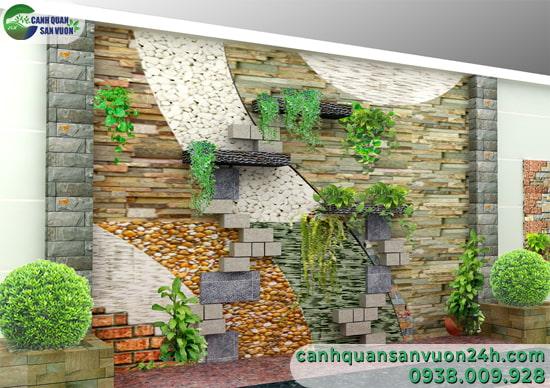 mẫu thiết kế tranh đá – đảo đá thác nước khô cho nhà phố