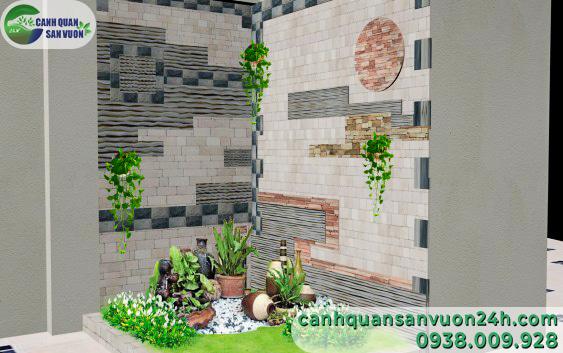 mẫu thiết kế tranh đá – đảo đá thác nước khô đẹp cho nhà phố