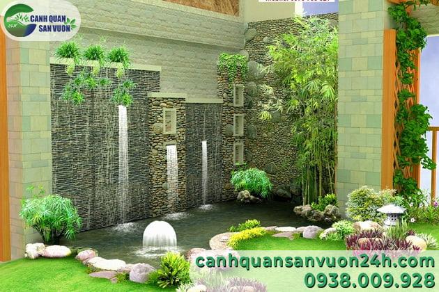 Thiết kế mẫu tiểu cảnh phun nước sân vườn đẹp