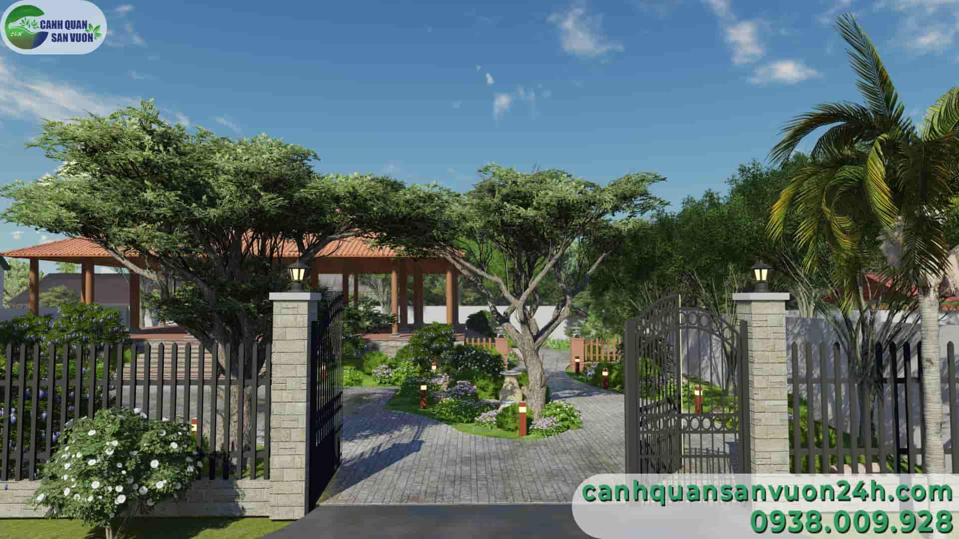 trực diện cổng dự án thiết kế sân vườn