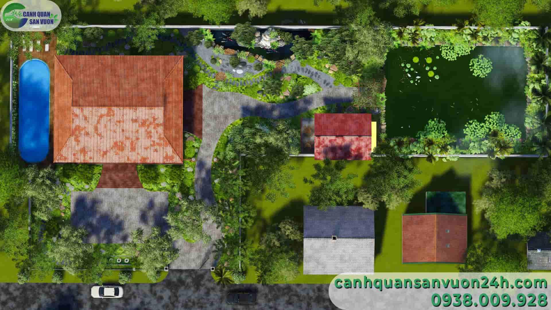 mô hình dự án thiết kế sân vườn