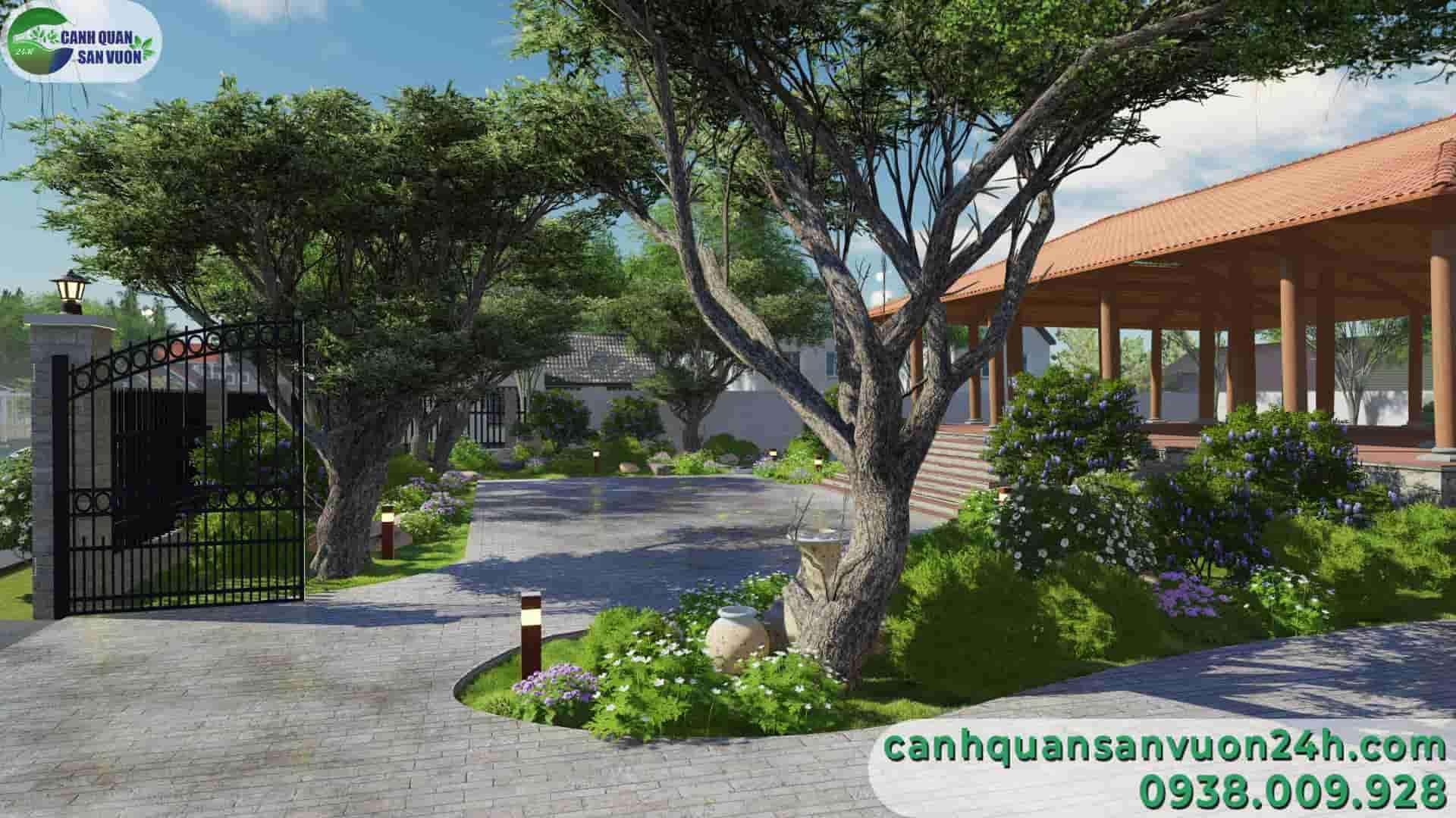 góc nhìn từ bên trái dự án thiết kế sân vườn