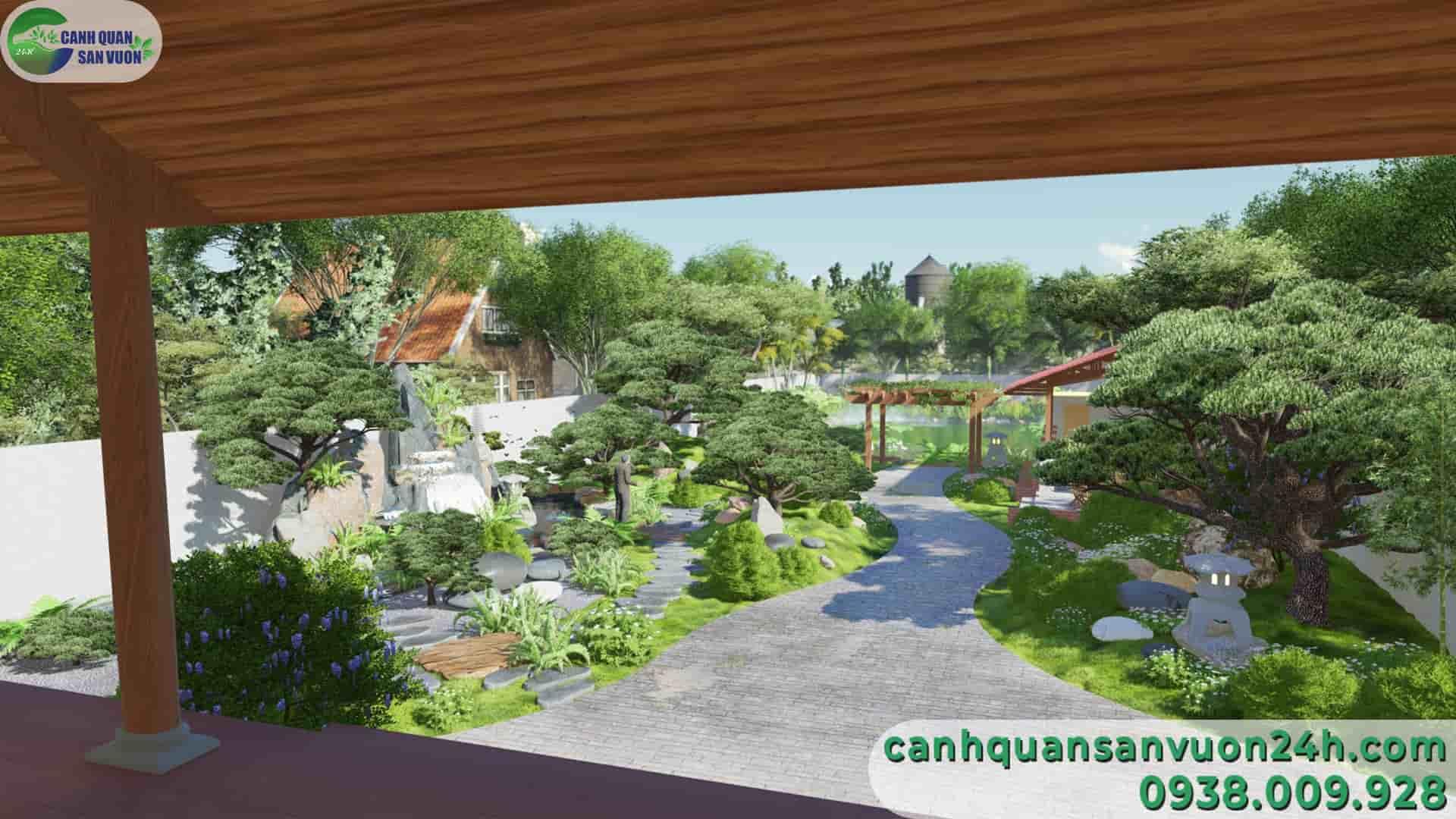 góc nhìn từ trong nhà dự án thiết kế sân vườn